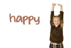 English language learning vocabulary school card of young beautiful happy female child. Gesturing excited and smiling cheerful rising arms isolated on white Royalty Free Stock Images