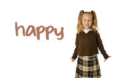 English language learning vocabulary school card of young beautiful happy female child. Gesturing excited and smiling cheerful rising arms isolated on white Royalty Free Stock Photo