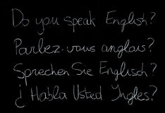 English language. Speaking english in different languages Royalty Free Stock Photography