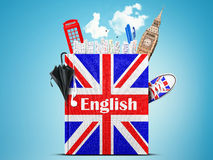 English language. Textbook with the British flag and umbrella Stock Images