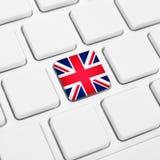 English language or UK web concept. United Kingdom flag button. Or key on white keyboard Royalty Free Stock Photos