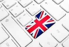 English language or UK web concept. United Kingdom flag enter bu Stock Image