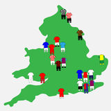 English League Clubs Map 2013-14 Stock Photos