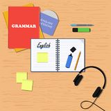 English learning concept. Flat illustration banner. Books, copybook, pencil, pen, stickers, headphones and disk with audio stock illustration