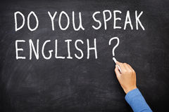 English Learning language. Learning language - English. Blackboard education concept saying Do You Speak English? written on Chalkboard Royalty Free Stock Image