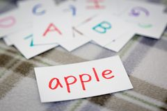 English; Learning the New Word with the Alphabet Cards royalty free stock image
