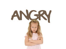 English learning vocabulary card with the word angry and sweet beautiful little child girl upset. English language learning vocabulary school card with the word Stock Photography