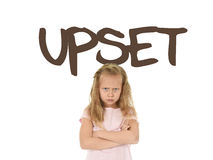 English learning vocabulary card with the word upset and sweet beautiful little child girl angry Stock Images
