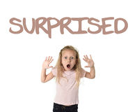 English learning vocabulary school card with the word surprise and portrait of little child girl amazed in shock Royalty Free Stock Photos