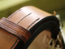 English Leather Belt. Hand stitched, oak bark tanned leather. Craftsmanship, handcrafted Stock Photo