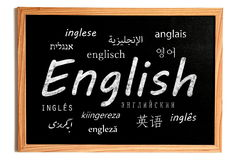 English Lesson Chalkboard Stock Image