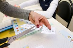 English lesson with children. Hands. cards with words Royalty Free Stock Images