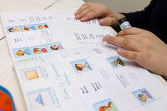 English lesson with children. Hands. cards with words Stock Photography