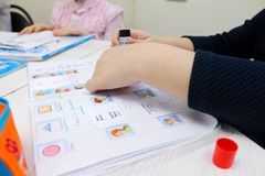 English lesson with children. Hands. cards with words Stock Photos
