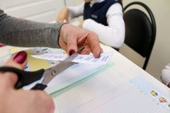 English lesson with children. Hands. cards with words Stock Photo
