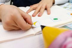 English lesson with children. Hands. cards with words Royalty Free Stock Photography