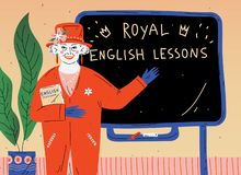 English Lesson. Portrait of teacher near blackboard in classroom. English Lesson. Portrait of teacher near blackboard in classroom royalty free illustration