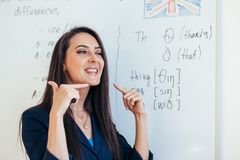 English lesson Teacher shows how to pronounce the sounds.  stock photography