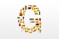 English letters formed by arrangement of Car toy diecast on the. White background , Top view royalty free stock images