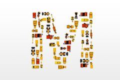 English letters formed by arrangement of Car toy diecast on the. White background , Top view stock image