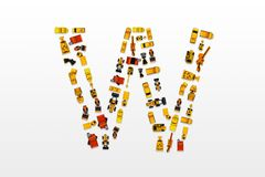 English letters formed by arrangement of Car toy diecast on the. White background , Top view royalty free stock photos