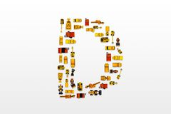 English letters formed by arrangement of Car toy diecast on the. White background , Top view stock photo