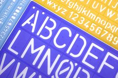 English Letters Plastic Stencils Alphabet Royalty Free Stock Photography