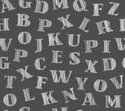 English letters, shaded, background, seamless, gray, vector. Capital letters of the English alphabet. Hatching a white pencil on a dark gray field. Simulation Royalty Free Stock Photo