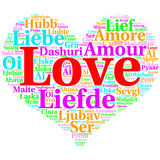English: Love. Heart shaped word cloud Love, on white. Focus on English: Love. Word cloud in heart shape on white Background. saying thanks in multiple languages Stock Photos