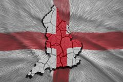 English Map. Map of England in National flag colors Royalty Free Stock Photos