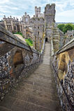 English medieval castle of Arundel. Ancient stone fortification from middle ages. English medieval castle of Arundel the seat of the Dukes of Norfolk. Ancient stock photo