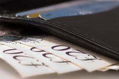 English money in a wallet Stock Photos