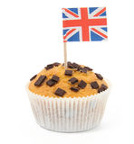 English muffin. Muffin with union jack flag isolated on white Royalty Free Stock Images