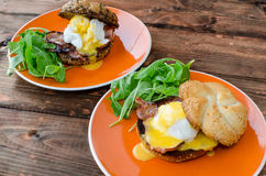 English muffin with bacon, egg benedict Stock Image