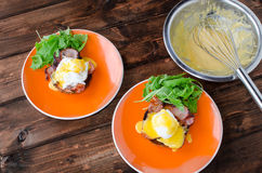 English muffin with bacon, egg benedict Royalty Free Stock Photos