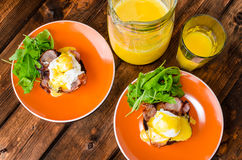 English muffin with bacon, egg benedict Stock Images