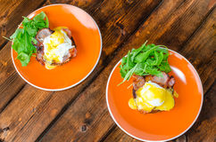 English muffin with bacon, egg benedict Royalty Free Stock Images