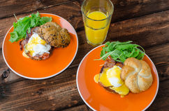 English muffin with bacon, egg benedict Royalty Free Stock Photo