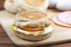 English muffin breakfast sandwich Stock Photo