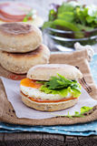 English muffin with egg for breakfast Stock Images