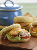 English Muffin. Filling with tuna and salad, make it delicious royalty free stock image