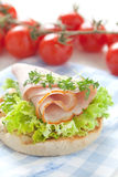 English muffin with ham Royalty Free Stock Photo