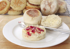 English muffin and jam Royalty Free Stock Photo