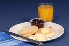 English muffin jam, juice Royalty Free Stock Photos