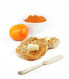 English Muffin with Orange and Marmalade Royalty Free Stock Photos