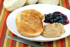 English muffin with peanut butter and jelly Royalty Free Stock Image