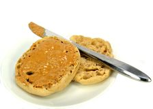 English muffin with peanut butter Stock Photos