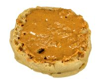 English muffin with peanut butter royalty free stock images