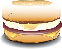 English Muffin sandwich. Illustration of an english muffin sandwich with canadian bacon, egg and cheese Royalty Free Stock Photo