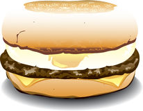 English Muffin sandwich. Illustration of an english muffin sandwich with sausage, egg and cheese Royalty Free Stock Photography